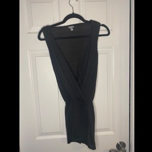 Aerie XS deep plunge romper black with pockets